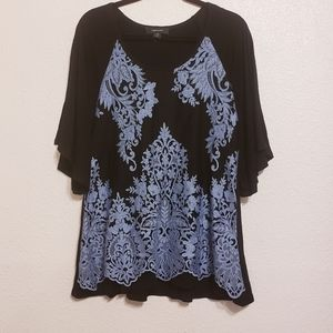 Karen Kane Lace Overlay Black w/ Blue Split Sleeve